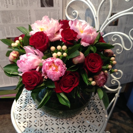 Peony & Red Rose arrangement