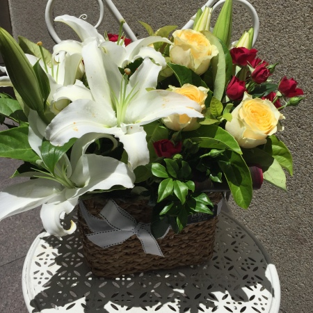 Mixed Coloured Flower Basket